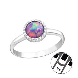 925 Sterling Silver Purple Opal Midi Ring